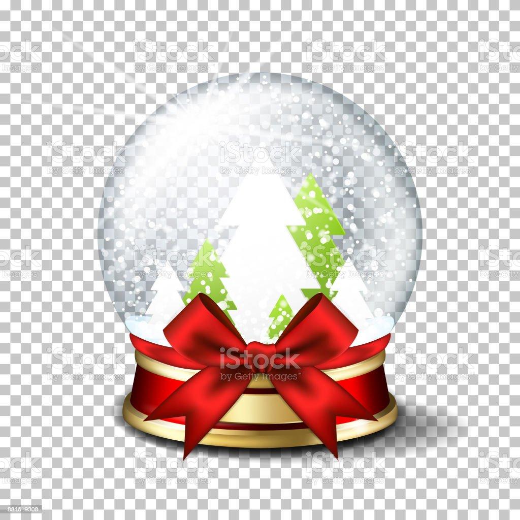 Realistic christmas glass snow globe, isolated. vector art illustration