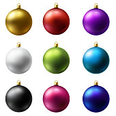 Realistic Christmas Holiday Balls isolated on a white background. Matted glass. Vector set