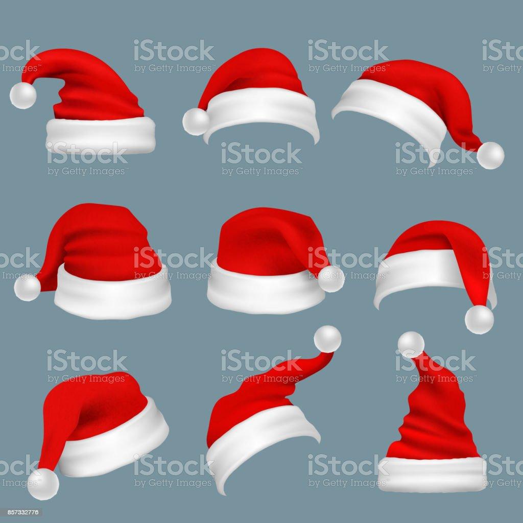 Realista Navidad sombreros de santa claus rojo aislaron conjunto de vectores ilustración de realista navidad sombreros de santa claus rojo aislaron conjunto de vectores y más vectores libres de derechos de accesorio personal libre de derechos