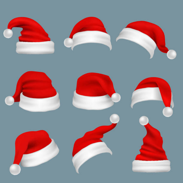 Realistic christmas santa claus red hats isolated vector set Realistic christmas santa claus red hats isolated vector set. Santa claus cap to xmas holiday celebration illustration santa hat illustrations stock illustrations