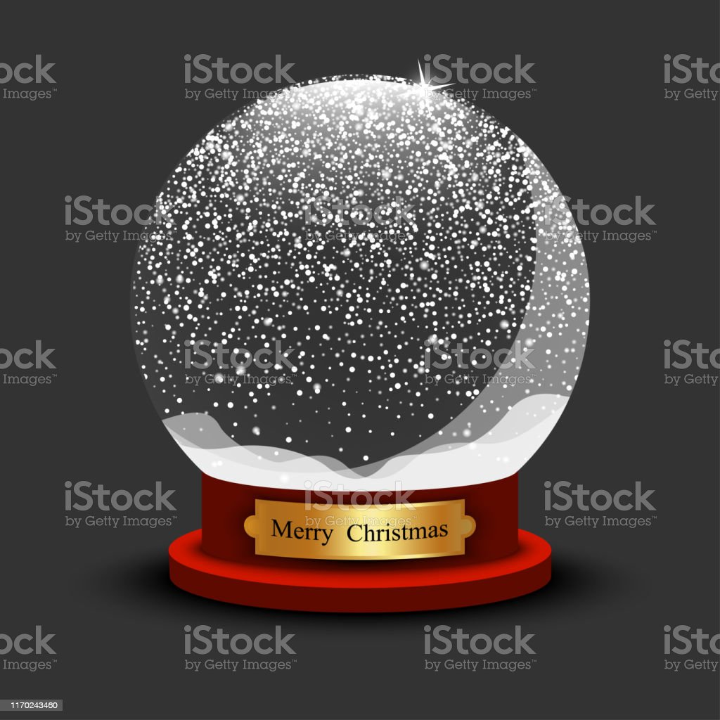 Realistic Christmas Snow Ball. Glass Snow Ball with shadow on black...