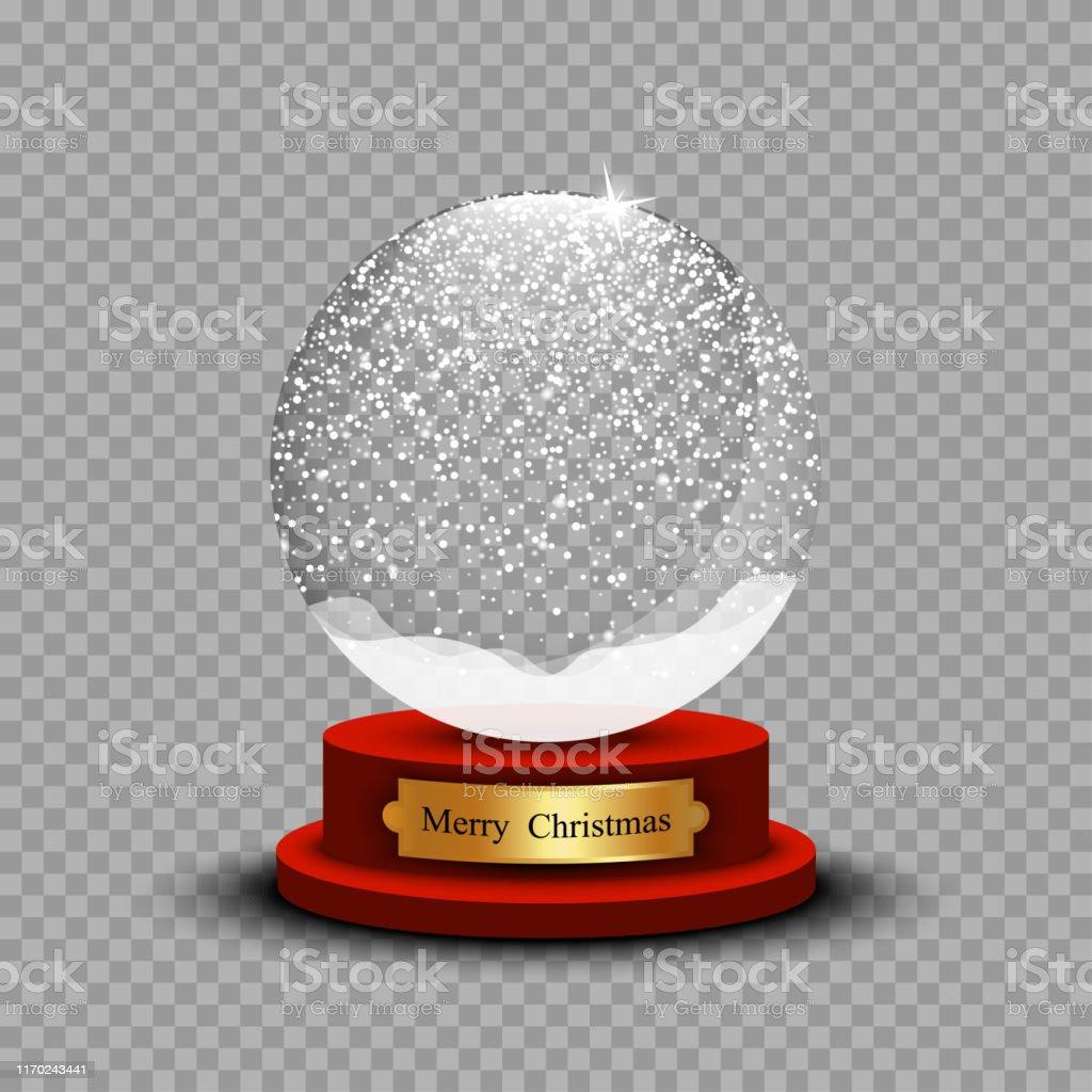 Realistic Christmas Snow Ball. Glass Snow Ball with shadow on...