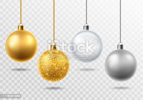 Realistic christmas tree toys. Golden with glitter, silver and transparent glass balls christmas decoration Vector isolated 3d holiday magic set