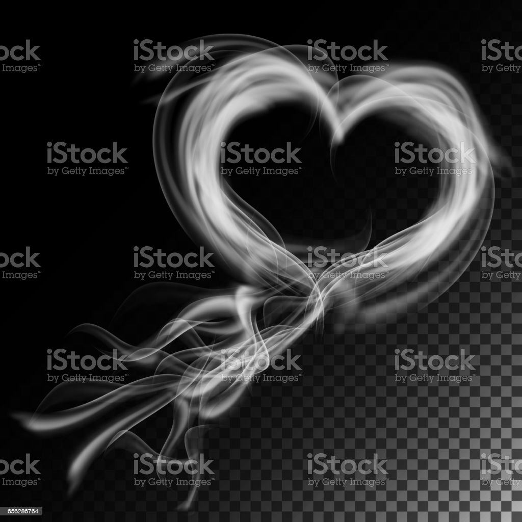 Realistic Cigarette Smoke Waves Vector Clouds In Heart Form Isolated On Checkered Background Royalty
