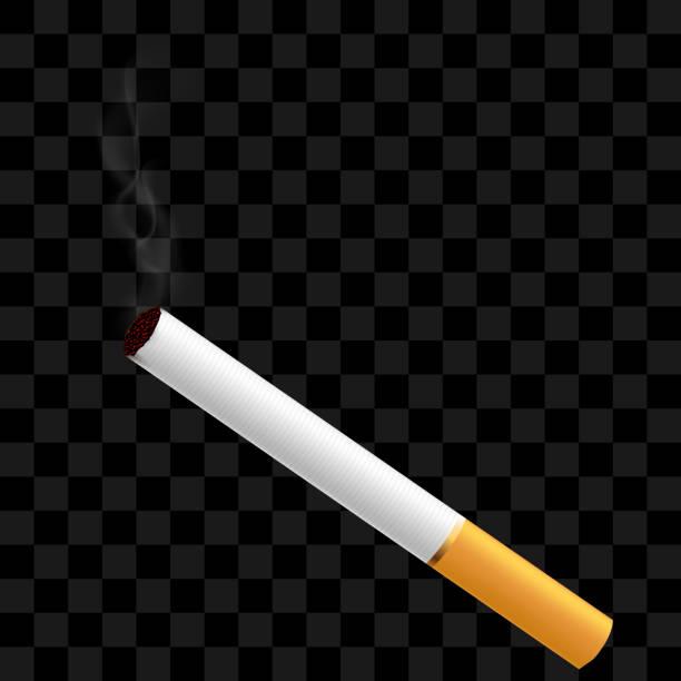 Eine realistische Zigarette Rauch auf einem transparenten Hintergrund. – Vektorgrafik