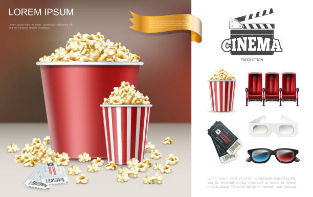 stockillustraties, clipart, cartoons en iconen met realistische cinema en film samenstelling - popcorn