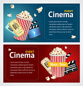 Realistic Cinema Movie Poster Template. Horizontal Set. Vector illustration