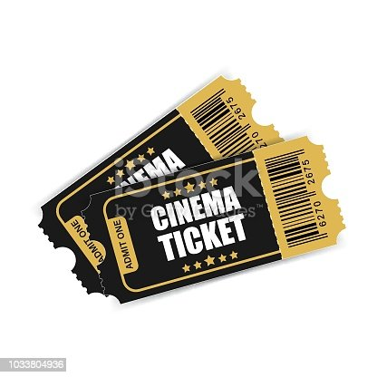 Realistic cinema ticket icon in flat style. Admit one coupon entrance vector illustration on white isolated background. 3d ticket business concept.