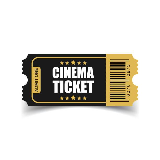 Realistic cinema ticket icon in flat style. Admit one coupon entrance vector illustration on white isolated background. 3d ticket business concept. Realistic cinema ticket icon in flat style. Admit one coupon entrance vector illustration on white isolated background. 3d ticket business concept. admit one stock illustrations