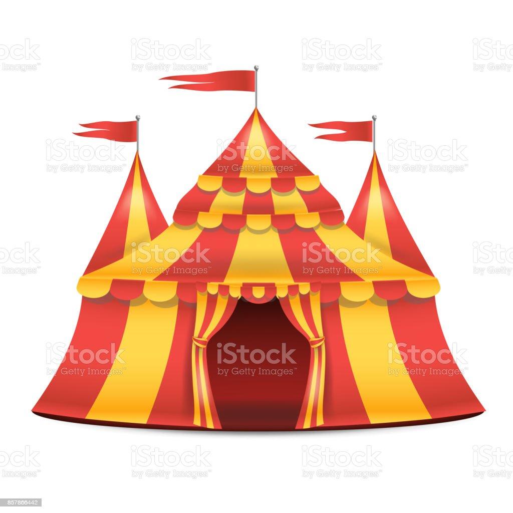 Vetores De Vetor De Tenda De Circo Realista Listras Vermelhas E