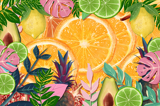 Realistic citrus fruit and tropical floral