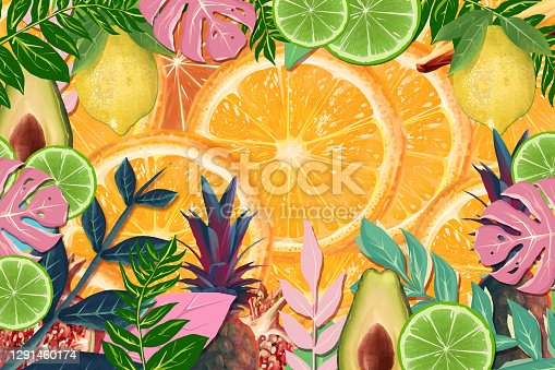 istock Realistic citrus fruit and tropical floral 1291460174