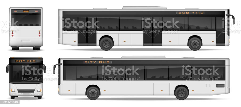 Realistic City Bus template isolated on white background. Passenger City Bus mockup side, front and rear view. Transport advertising design. Vector illustration vector art illustration