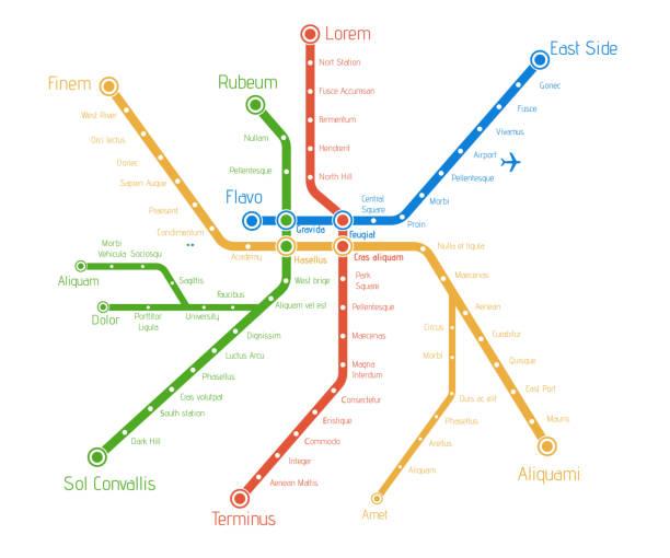 illustrations, cliparts, dessins animés et icônes de plan du métro ville réaliste. illustration de vecteur de fond. modèle abstrait. abstrait de la technologie. concept de train de journe. - métro
