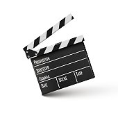 Realistic clapper.cinema.Board on a white background.film.time