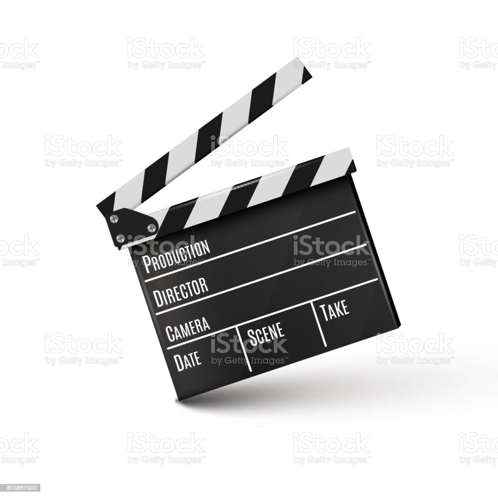 Realistic clapper.cinema.Board on a white background.film.time vector art illustration
