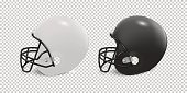 Realistic classic american football helmet set - black and white color. Isolated on transparent background. Side view. Design template closeup in vector. Mock-up for branding and advertise