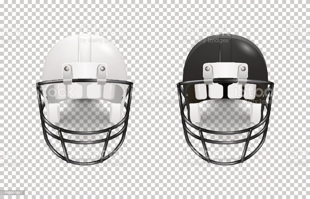 realistic classic american football helmet set black and white color