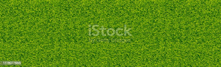 istock Realistic classic football field with two-tone green coating 1278077653