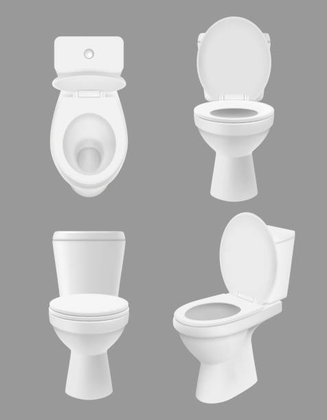 Realistic clean toilet. White bowls in bathroom or washing room various views of close up toilet. Vector hygiene concept pictures Realistic clean toilet. White bowls in bathroom or washing room various views of close up toilet. Vector hygiene concept pictures. Toilet clean hygiene, sanitary wc bathroom illustration bathroom silhouettes stock illustrations