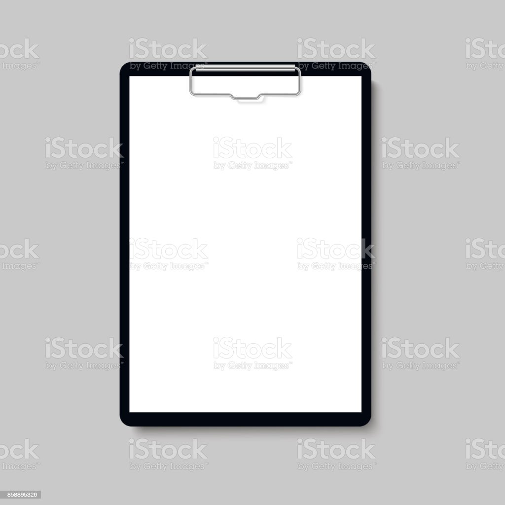 Realistic clipboard folder with blank white sheet of paper mock up. Vector. vector art illustration