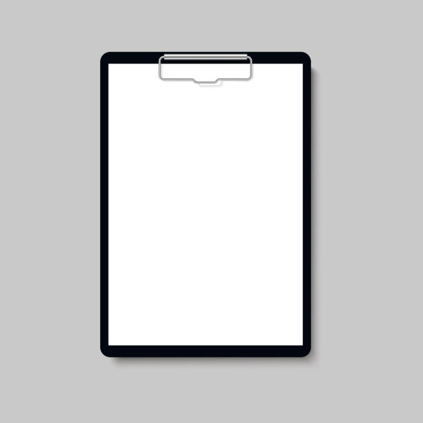 Realistic clipboard folder with blank white sheet of paper mock up. Vector. Realistic clipboard folder with blank white sheet of paper mock up. Vector. clipboard stock illustrations