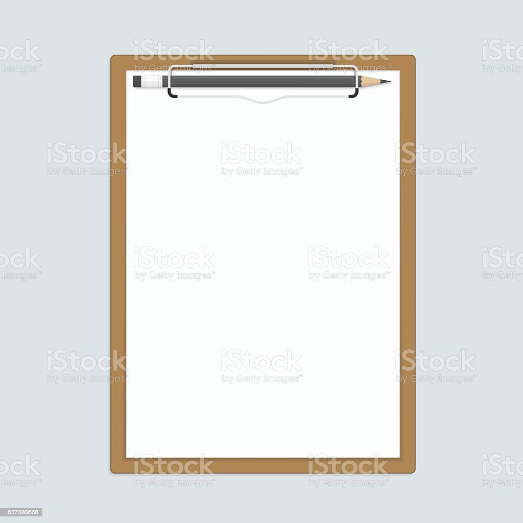 Realistic clipboard with paper and pencils. vector art illustration