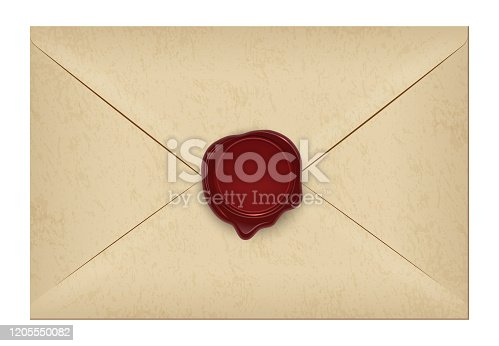 istock Realistic closed vintage old aged letter envelop with round dark red wax seal stamp. Paper parchment. Ancient postage symbol collection. Post object isolated on white. Vector illustration. 1205550082