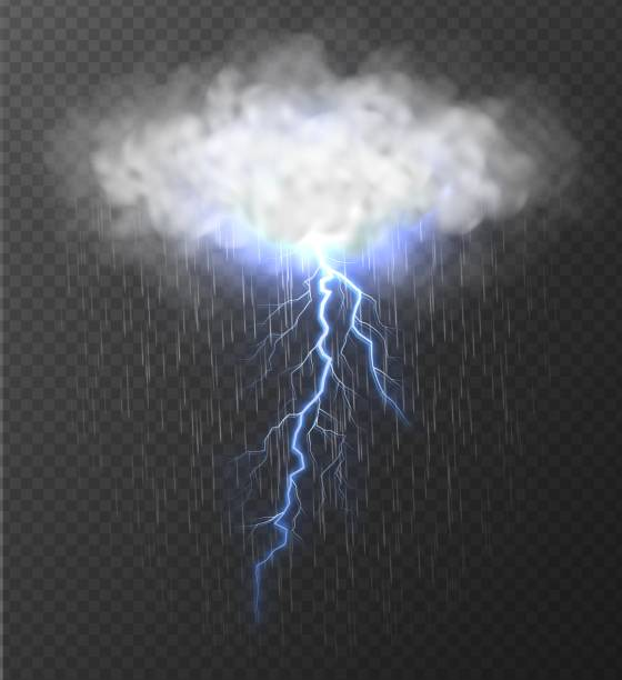Realistic cloud with blue thunderbolt and rain isolated on transparent background. Cloud with blue thunderbolt and rain isolated on transparent background. Realistic thunderstorm and lightning strike vector illustration. hailstorm stock illustrations