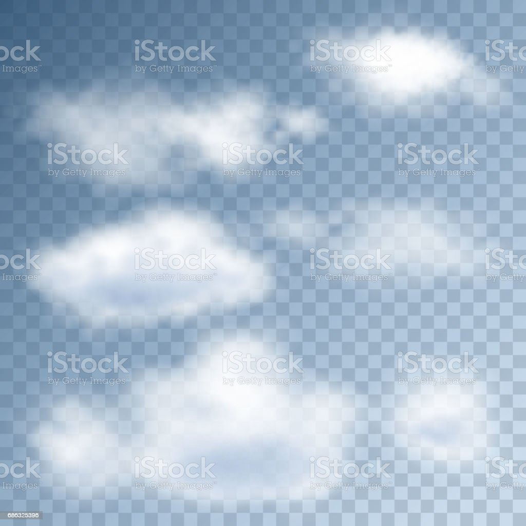 Realistic clouds in the sky vector art illustration