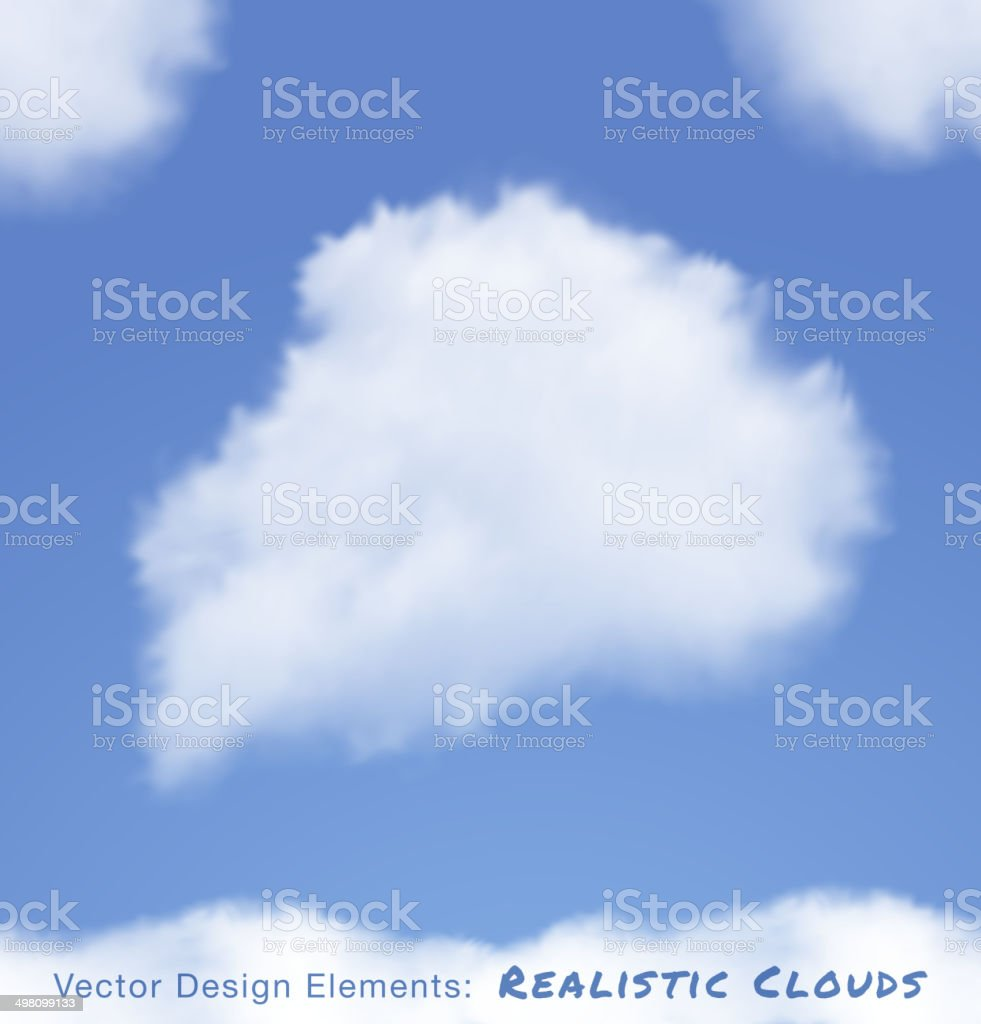 Realistic Clouds on blue sky vector art illustration