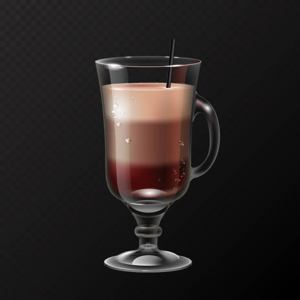 Realistic cocktail irish coffee glass vector illustration on transparent background Realistic cocktail irish coffee glass vector illustration on transparent background irish coffee stock illustrations