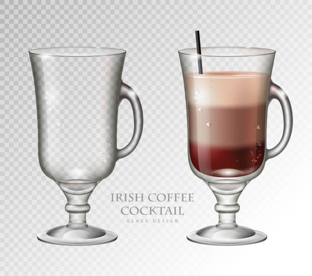 Realistic cocktail irish coffee vector illustration on transparent background. Full and empty glass Realistic cocktail irish coffee vector illustration on transparent background. Full and empty glass irish coffee stock illustrations