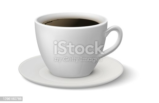 istock Realistic coffee cup. Espresso 3D mockup, white mug on plate side view, hot beverage in ceramic crockery, morning caffeine aromatic drink, 3d advertise element vector illustration 1296180766