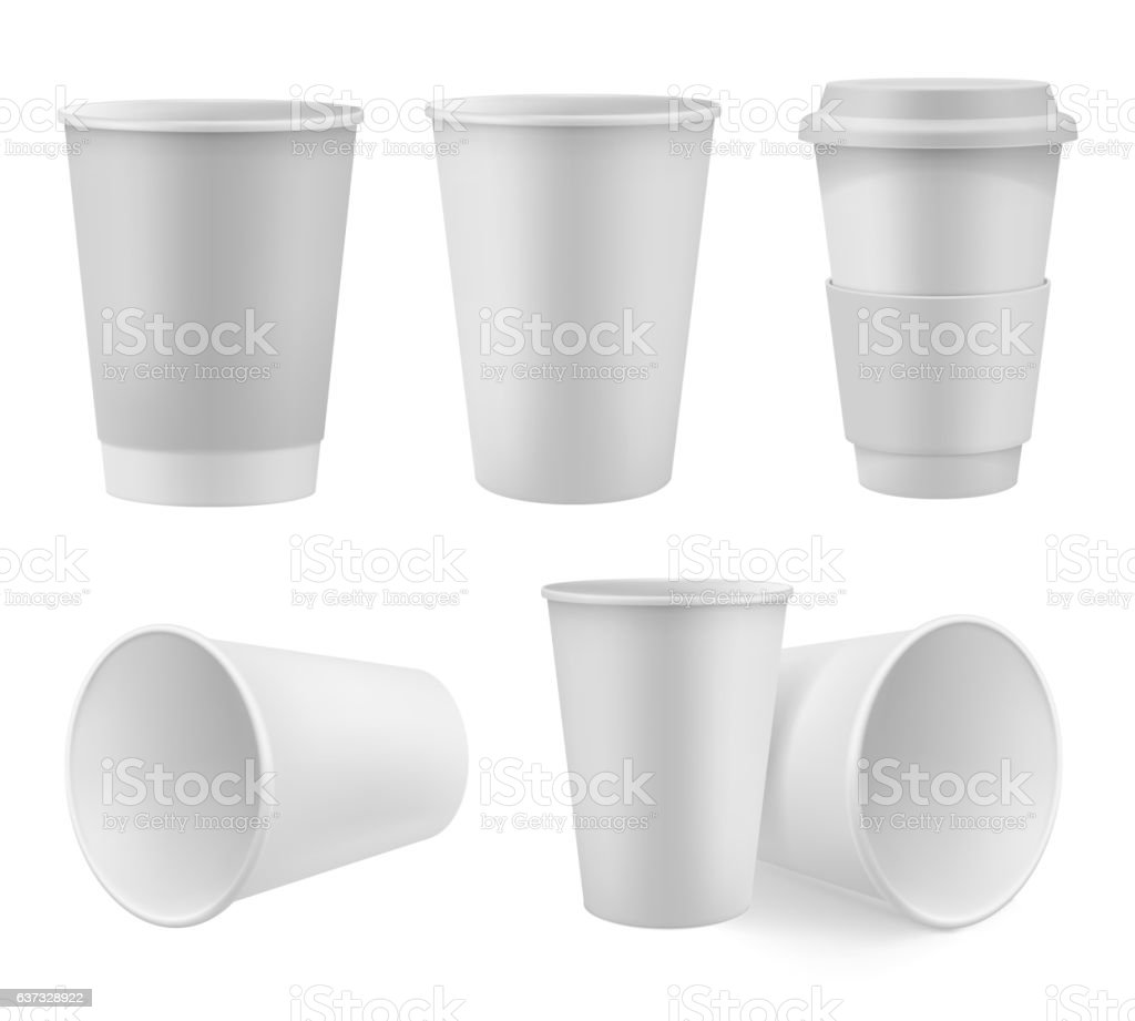 Realistic coffee cup mock up set vector art illustration