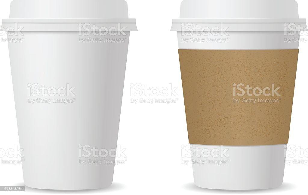 Realistic coffee cup set mockup vector art illustration