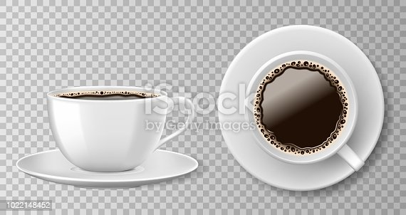 Realistic coffee cup top view isolated on transparent background. White blank mug with black coffee and saucer. Vector illustration EPS 10