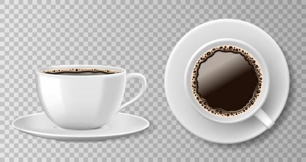 bildbanksillustrationer, clip art samt tecknat material och ikoner med realistiska kaffe kopp ovanifrån isolerad på transparent bakgrund. vit blank mugg med svart kaffe och tefat. vektorillustration - kaffekopp