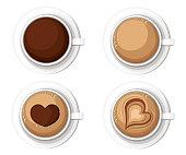 Realistic Coffee Cups with Americano Latte Espresso Macchiato Mocha Cappuccino. Vector illustration Web site page and mobile app design vector element.