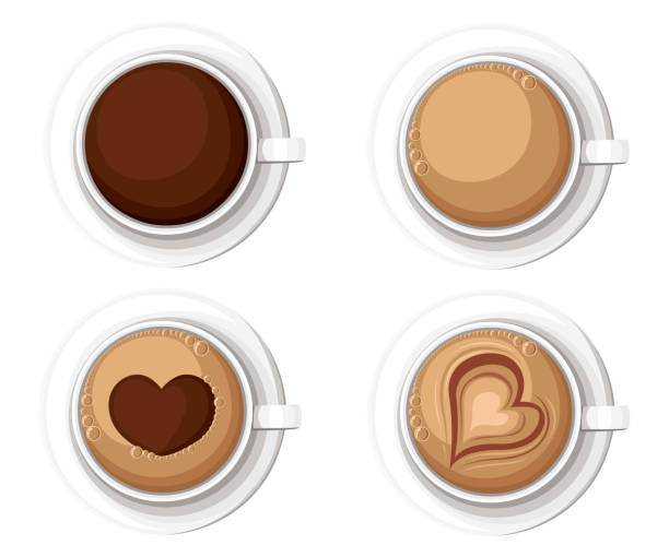 realistic coffee cups with americano latte espresso macchiato mocha cappuccino. vector illustration web site page and mobile app design vector element - cappuccino stock illustrations