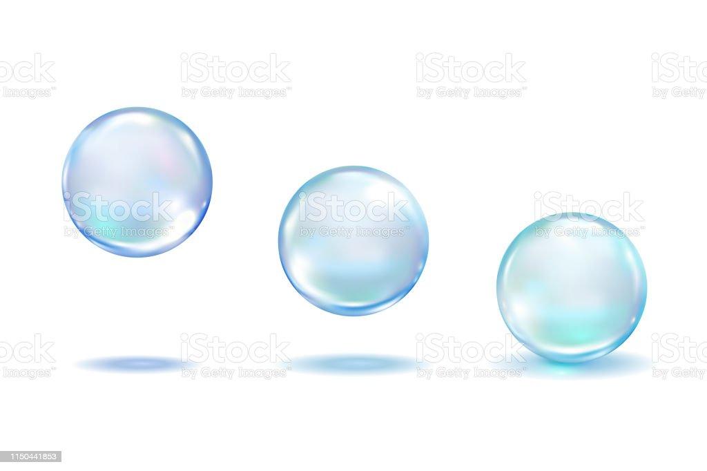 Realistyczne kropelki kolagenu ustawione na białym tle. Realistyczny wektor jasne rosy, niebieskie czyste krople, pęcherzyki wody lub szklane kulki szablon 3d wektor ilustracji - Grafika wektorowa royalty-free (Balon)
