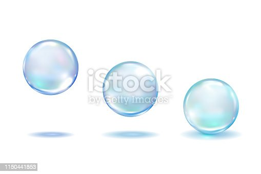 Realistic Collagen droplets set isolated on white background. Realistic vector clear dews, blue pure drops, water bubbles or glass balls template 3d vector illustration