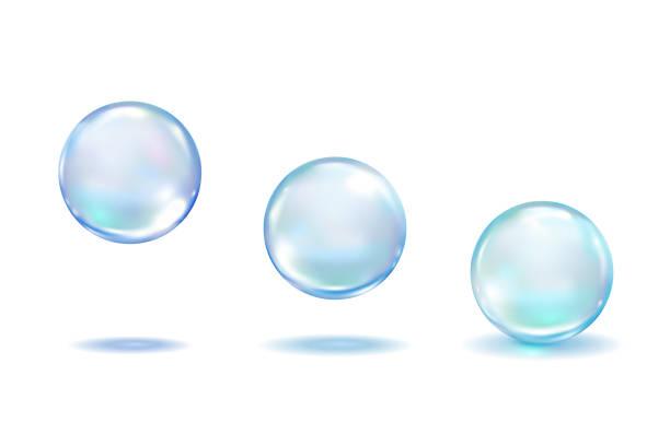 realistische collagen-tropfchen setzen isoliert auf weißem hintergrund. realistische vektorklare abgänge, blaue reine tropfen, wasserblasen oder glaskugeln schablone 3d vektorabbildung - blase physikalischer zustand stock-grafiken, -clipart, -cartoons und -symbole