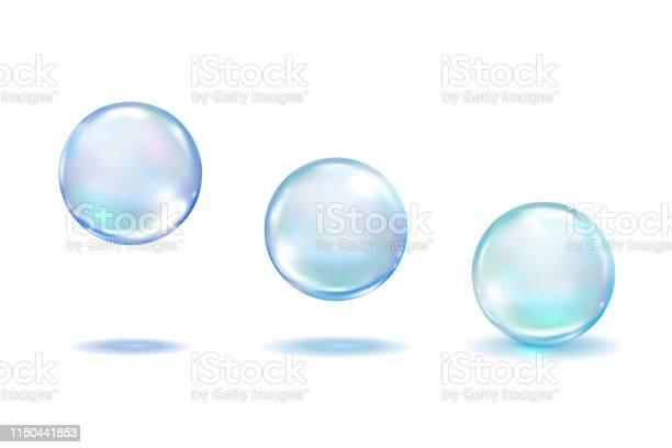 現實的膠原蛋白液滴設置隔離在白色背景現實的向量清除露水 藍色純淨的下落 水泡或玻璃球範本3d 向量例證向量圖形及更多一組物體圖片