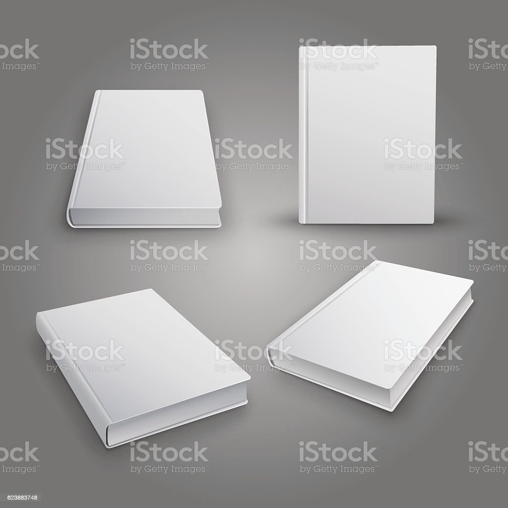 Realistic collection of 3d books with white cover. Mock Up 벡터 아트 일러스트