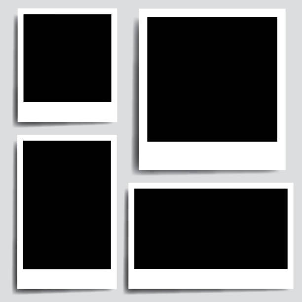 Realistic collection old photo frame - vector Realistic collection old photo frame - vector polaroid frame stock illustrations