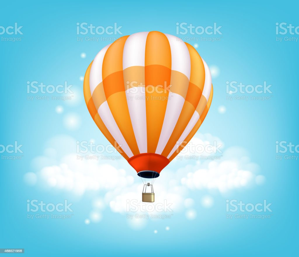 Realistic Colorful Hot Air Balloon Background Flying vector art illustration