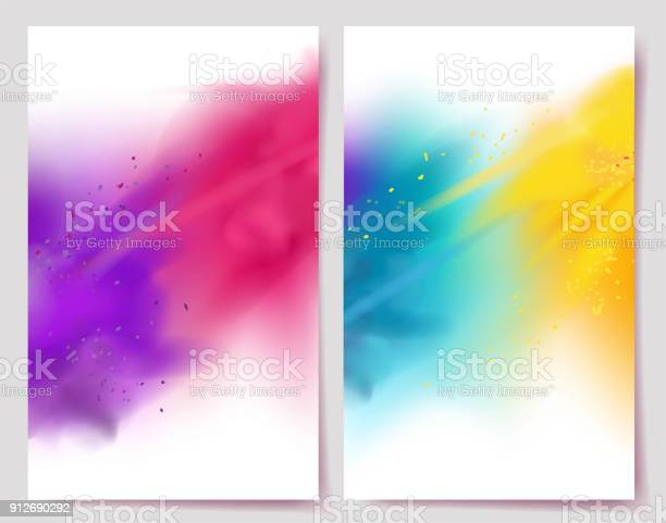 Realistic Colorful Paint Powder Explosions On White Background Stock Illustration - Download Image Now