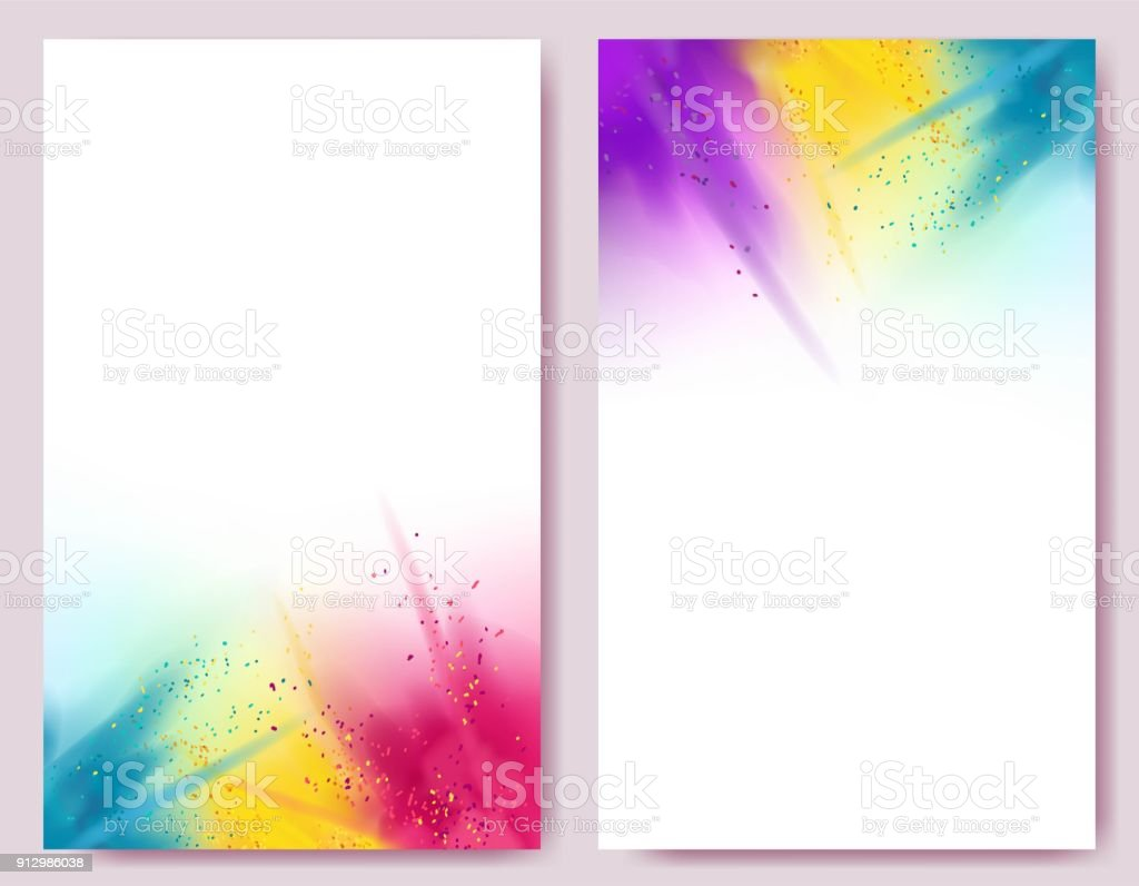 Realistic colorful paint powder explosions on white background. vector art illustration
