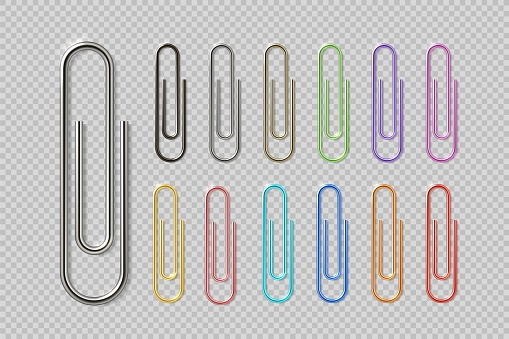 Realistic colorful paper clip set. Metal fasteners notebook holders. Vector illustrations colors steel paperclip